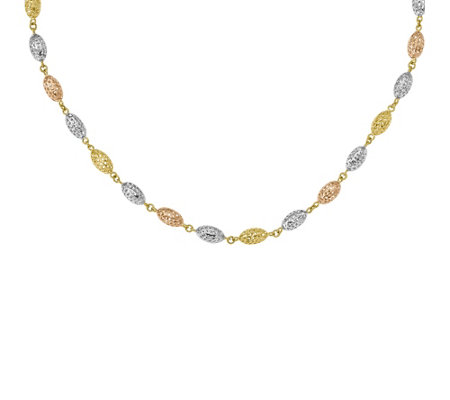 "14K Gold 17"" Tri-Color Beaded Mesh Necklace, 8.1g"