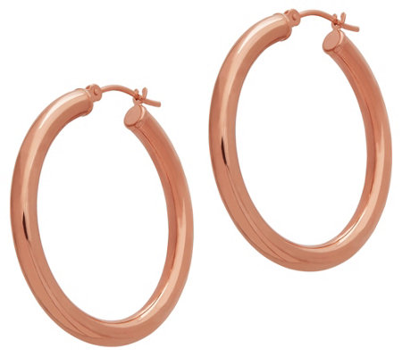 "EternaGold 1-1/2"" Polished Round Hoop Earrings,14K Gold"