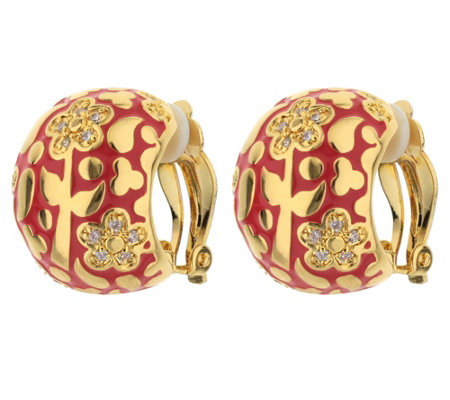Lauren G Adams Goldtone Enamel Floral Dome HoopEarrings
