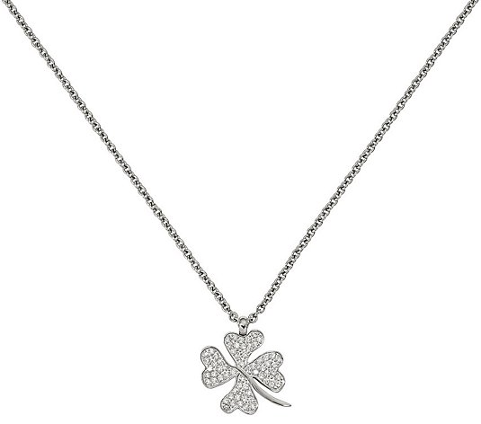 Stainless Steel Crystal Four-Leaf Clover Pendant with Chain