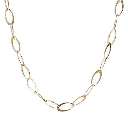 Veronese 18k Clad Polished Flat Oval Link 36 Necklace