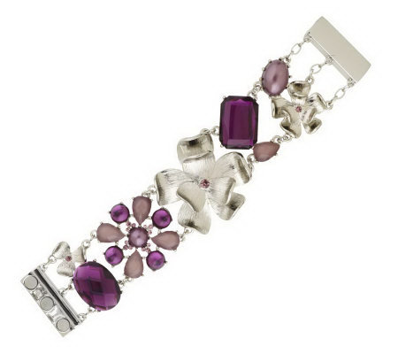 Isaac Mizrahi Live! Faceted Stone and Flower Bracelet