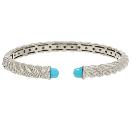 Judith Ripka Sterling Sleeping Beauty Turquoise Cuff