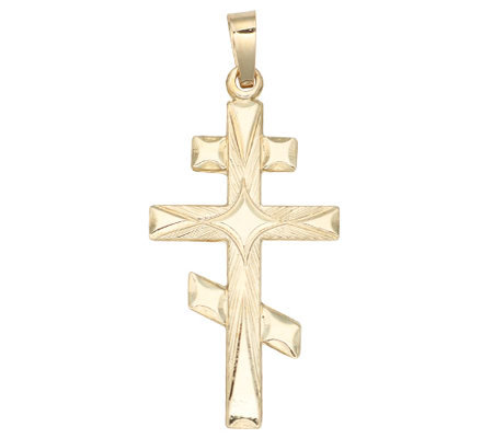Diamond-Cut Eastern Orthodox Cross Pendant, 14KYellow Gold