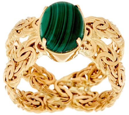 14K Gold Malachite Byzantine X-Ring
