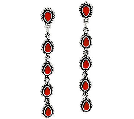 Red Coral Sterling Silver Linear Earrings by American West