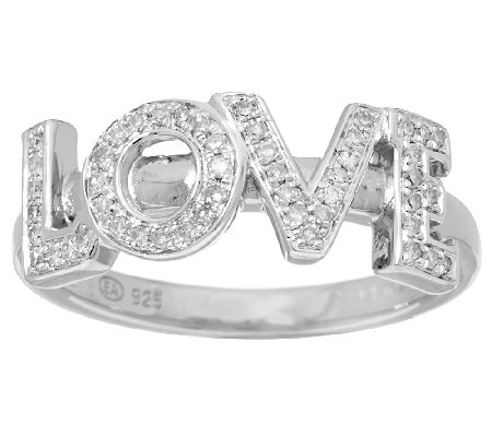 LOVE Block Diamond Ring, Sterling, 1/7 cttw, by Affinity