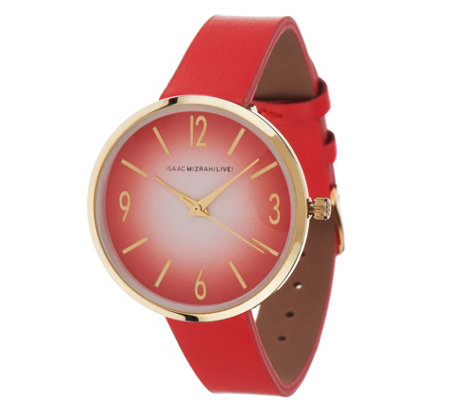 Isaac Mizrahi Live! Ombre Dial Leather Strap Watch