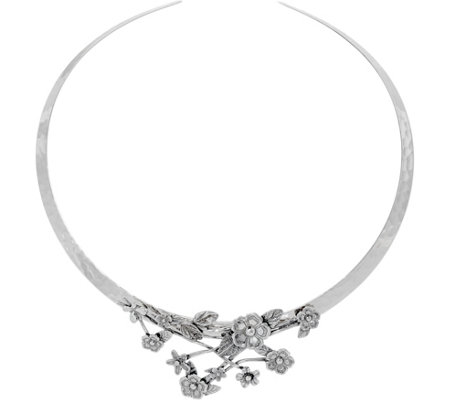 Or Paz Sterling Silver Floral Collar Necklace, 28.0g