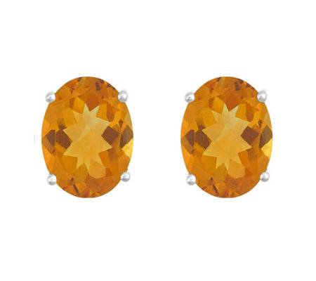 8x6mm Oval Semi-Precious Gemstone Stud Earrings, 14K White