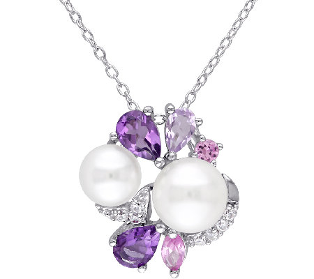 Sterling Multi Gemstone Cultured Pearl Cluster Pendant