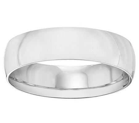 Platinum 6mm High Polish Comfort Fit Wedding Band Ring
