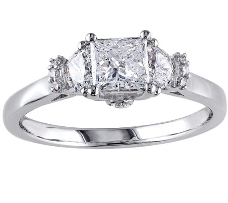 Affinity 9/10 cttw Princess Cut Diamond Ring, 14K White Gold