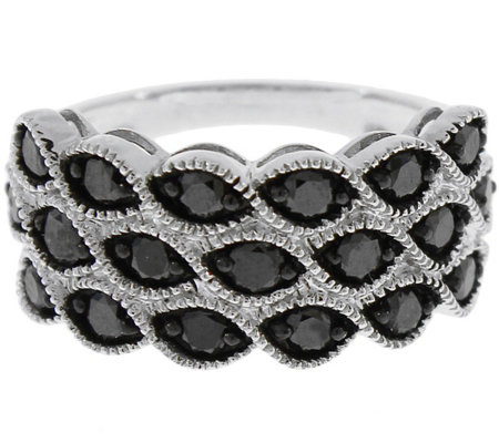 Black Diamond Band Ring, Sterling, 1.25 cttw, by Affinity