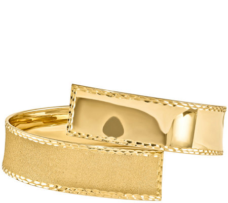 14K Gold Wide Crossover Wrap Bangle, 14.6g