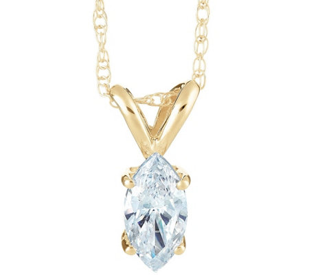 Marquise Diamond Pendant, 14K Yellow Gold 1/4 cttw,by Affinity