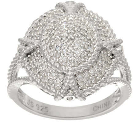 Pave' White Diamond Filigree Ring Sterl, 1/3cttw by Affinity