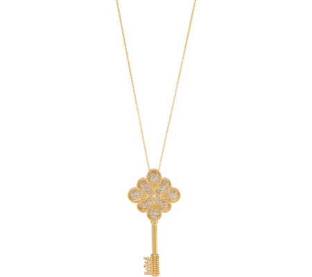 "Italian Gold Open Work Key with 30"" Chain 14K Gold 6.5g"