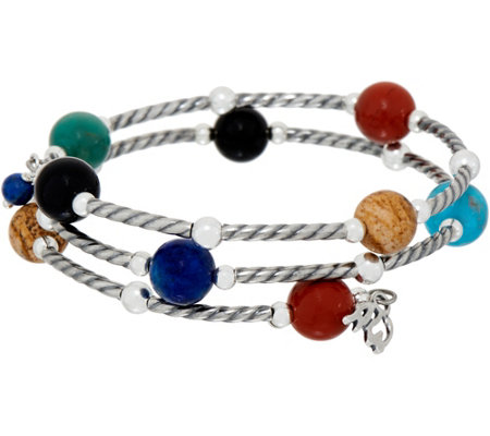 American West Gemstone Bead & Sterling Silver Coil Wrap Bracelet
