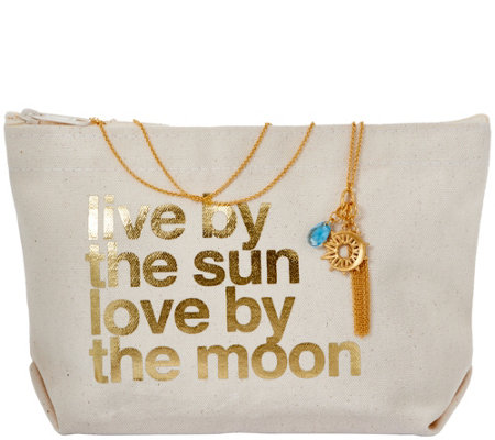 Dogeared Sun and Moon Cluster Necklace and Pouch