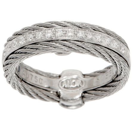 ALOR Cable Stainless Steel & Diamond Band Ring