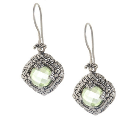 """As Is"" Artisan Crafted Sterl. 6.80 cttw Quartz Diamond Shaped Earrings"