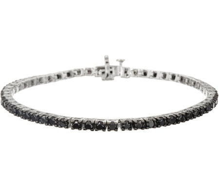 """As Is"" Black Diamond 8"" Tennis Bracelet Sterling by Affinity"