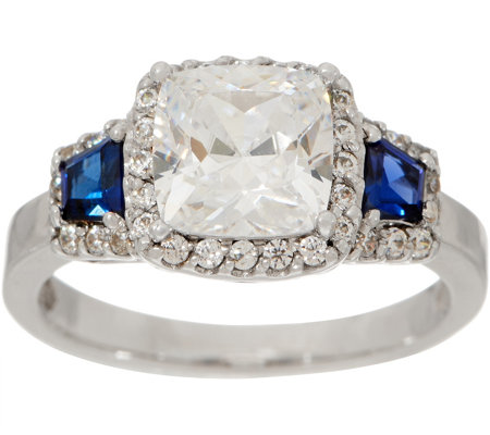 """As Is"" Diamonique and Simulated Sapphire Ring, Platinum Clad"