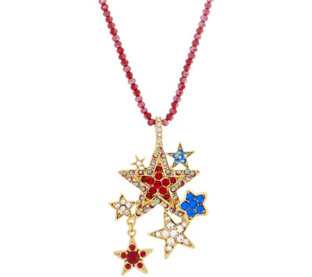 Kirks Folly Forever Free Star Pendant and Crimson Beaded Necklace