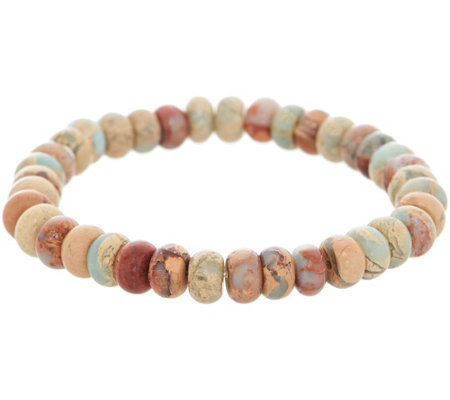Opaque Jasper Rondel Bead Stretch Bracelet Sterling