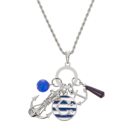 As Is C Wonder Multi Charm Anchor Necklace With 31 1 2 Chain
