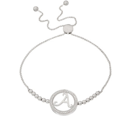 """As Is"" Diamond Initial Bracelet, 1/5 cttw, Sterling by Affinity"