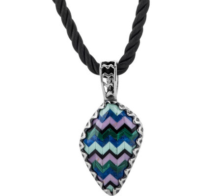 American West Sterling & Multi Channel Inlay Pendant Necklace