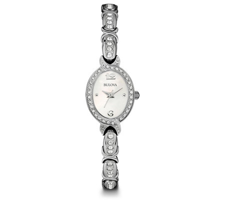 Bulova Women's Stainless Oval Crystal Watch