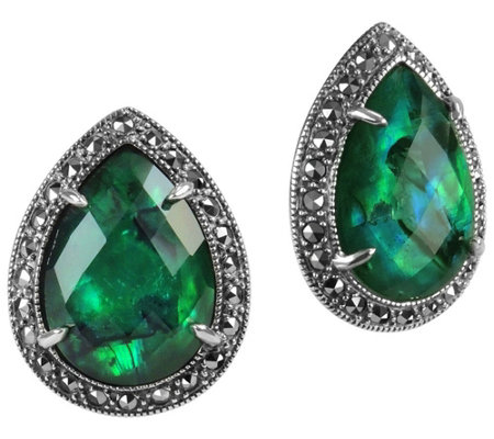 Suspicion Sterling Green Abalone & Marcasite Halo Earrings