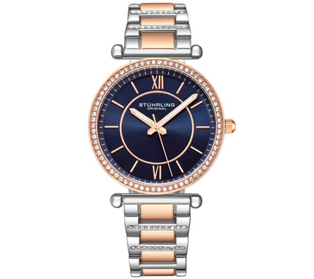 Stuhrling Women's Aria Two-Tone Crystal Watch