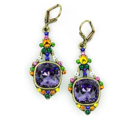Anne Koplik Cushion Cut Purple Swarovski Crystal Earrings Qvc