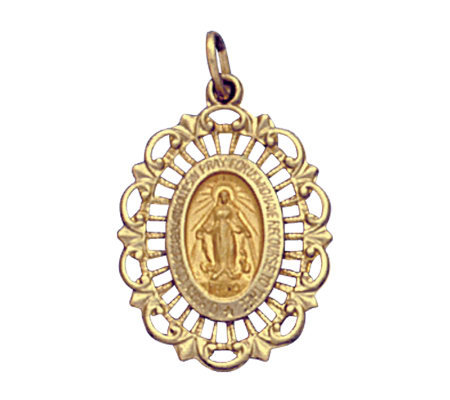 14K Yellow Gold Pierced Framed Miraculous Medal