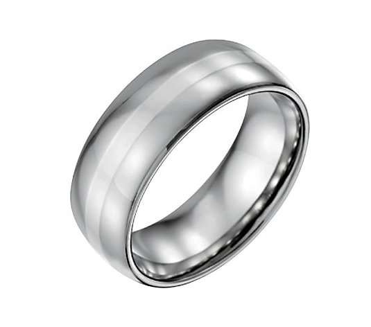 Steel by Design Men's 8mm w/ Sterling InlayPolished Ring