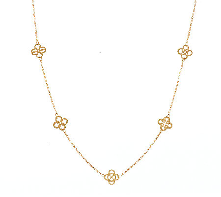 "VicenzaGold 36"" Quatrefoil Design Station Necklace 14K Gold, 2.5g"