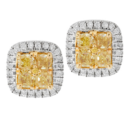 Yellow Diamond Cer Halo Stud Earrings 14k 1 00ct By Affinity