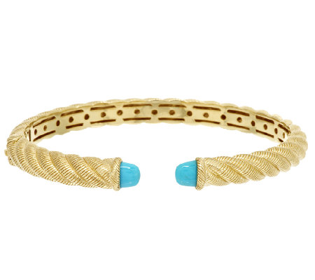 Judith Ripka Sterling 14K Gold Clad Sleeping Beauty Turquoise Cuff