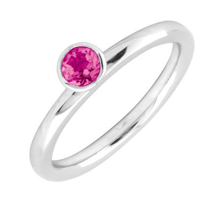 Simply Stacks Sterling 4mm Pink Tourmaline Sol.Stackable Ring