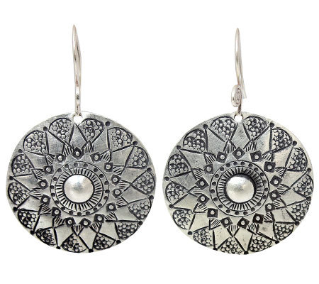 Novica Artisan Crafted Sterling Floral Sheild Earrings