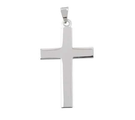 "UltraFine Silver 1-7/8"" Polished Cross Pendant"