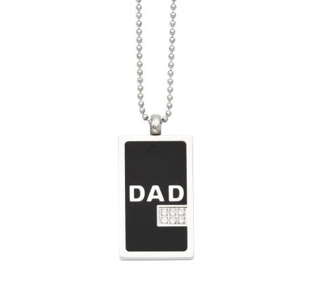 "Forza Men's Stainless Steel 24"" Black ""DAD"" DogTag Necklace"