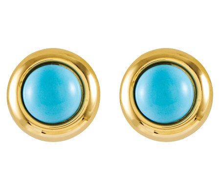 Round Turquoise Omega Back Stud Earrings, 14K Gold