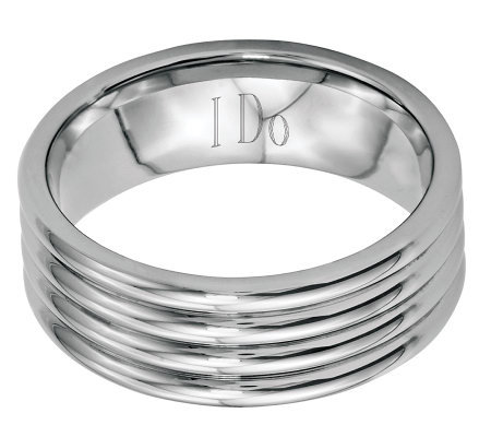 Stainless Steel 8mm Polished Grooved Engravable Ring