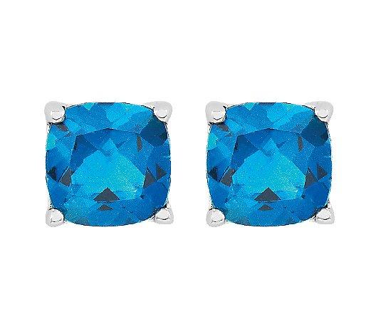 Sterling Silver 2.35ct Blue /& White Topaz Cushion-Cut Stud Earrings