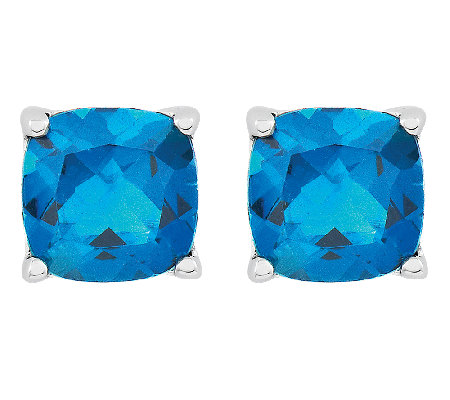 Sterling 3.80cttw Faceted Cushion-Cut Blue Topaz Stud Earring